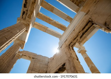 A low angle shot of Acropolis ruins on a sunny day