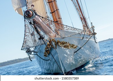A low angle shot of a beautiful schooner with golden patterns sailing in the sea