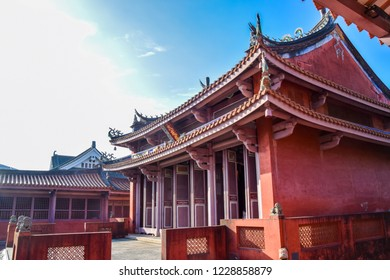 Low angle shot of Confucius Temple, Buddhist temple complex in Tainan. Tourist highlight of the historic capital city of the country.