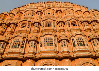 Low angle shot of the famous Palace of Winds or Hawa Mahal, Jaipur, India