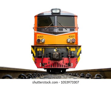 Low angle shot Front of Train led by Yellow and Orange Diesel Electric locomotives on the tracks of Thailand. isolated on white background.