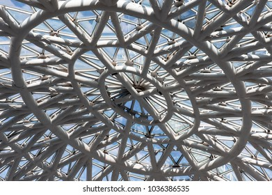low angle shot of iron roof construction