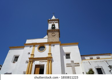 A low angle shot of the Las Angustias Parish church in Huelva Province, Andalucia, Spain