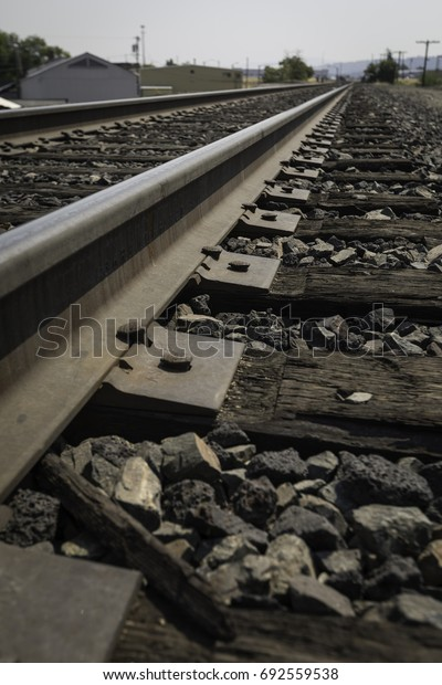 Low angle shot of old wooden railroad tracks