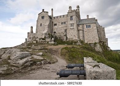 Low angle shot of Saint Michael's Mount in Marazion, Cornwall, UK