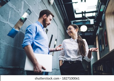 Low angle of smiling colleagues in stylish wear standing in corridor with papers while having break and discussing business in contemporary urban office