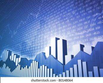 Low angle Stock market bars & charts with random finance data