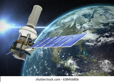 Low angle view of 3d modern solar power satellite against aerial view of the earth