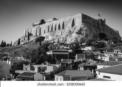 Low angle view of Acropolis - Athens from town square, Athens, Greece