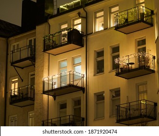Low angle view of a apartment building with balconies in Vasastan, Stockholm, Sweden
