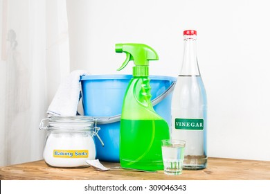 Low angle view of baking soda with vinegar, natural mix for effective house cleaning
