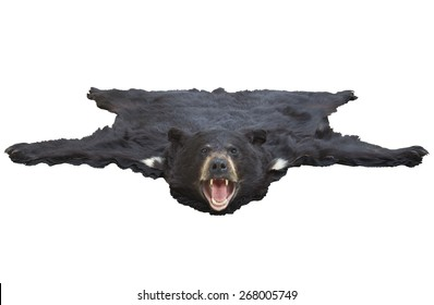 A low angle view of a black bearskin rug isolated on white background