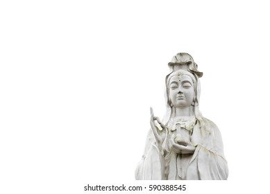 Low angle view of The Bodhisattva of Mercy, Goddess of Compassion, or Quan Yin / Guan Yin / Guan Yim in Houston, Texas, US. Majestic white Buddha statue isolated on white background. Buddhist concept.