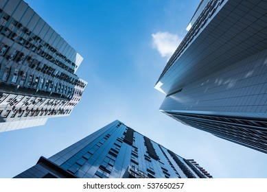 low angle view of business buildings in Shenzhen,China.