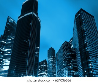 low angle view of business buildings in buisness district Moscow city, Russia