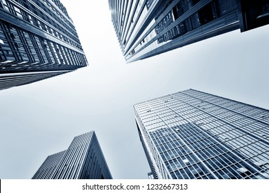 Low angle view of business skyscrapers in China.