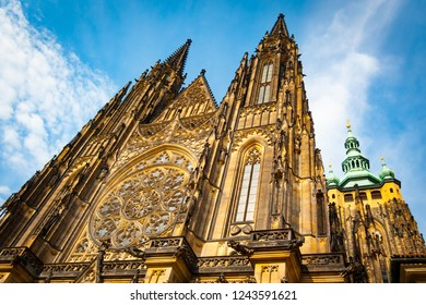 Low angle view of the Cathedral of Saints Vitus, Wenceslaus and Adalbert, Mala Strana, Prague, Czech Republic, Europe