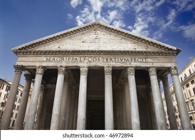Low angle view of columns and front facade of the Pantheon. Horizontal shot.