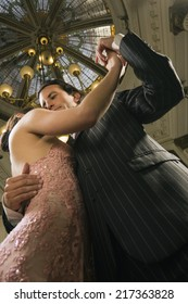 Low angle view of a couple dancing