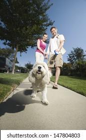 Low angle view of a couple walking dog along pavement