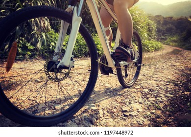 Low angle view of cyclist riding mountain bike on rocky trail at sunny day