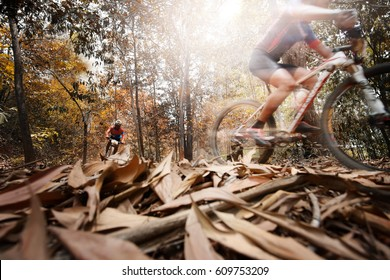 low angle view of cyclist riding mountain bike,sport background.