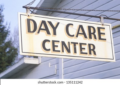 Low angle view of Day Care Center sign