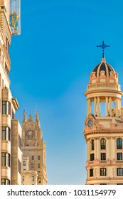 Low angle view of eclectic style architecture at Madrid city, Spain