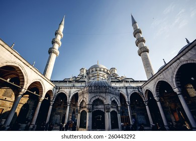 Low angle view of Famous Suleymaniye Mosque in Istanbul against blue sky