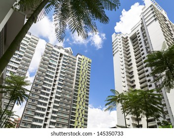 Low angle view of a few high raise apartment blocks