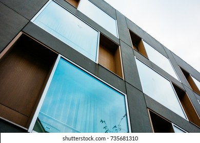 low angle view of futuristic facade with big windows
