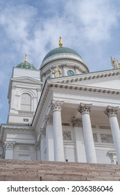 Low angle view of Helsinki Cathedral (Finnish - Helsingin tuomiokirkko, Suurkirkko). The Finnish Evangelical Lutheran cathedral of the Diocese of Helsinki on a sunny summer day.
