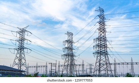 Low angle view of high voltage post. High-voltage tower sky background. Electricity is the major energy of the world.