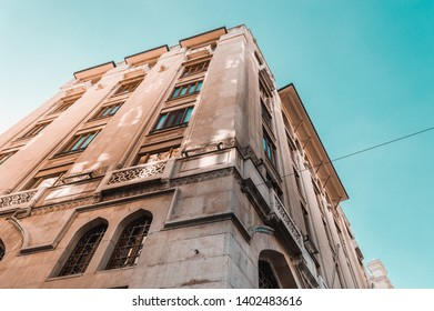 Low angle view of a historical buildings in Karakoy, the modern name for ancient Galata, commercial quarter in the Beyoglu district of Istanbul, Turkey