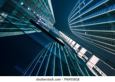 low angle view of illuminated modern building exterior