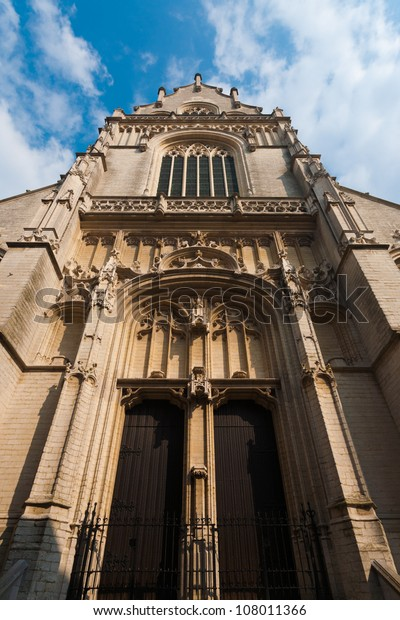 Low angle view of imposing front facade entrance of Jacobskerk, Saint James Church, the final resting place of Belgium's elite including artist, Peter Paul Rubens in Antwerp, Belgium
