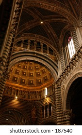 Low angle view of the inside of a church,  Siena, Tuscany, Italy,
