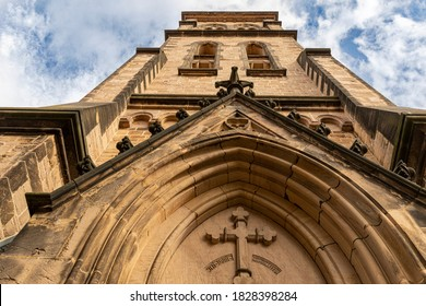 Low angle view of istorical church tower in Saxony-Anhalt, Germany