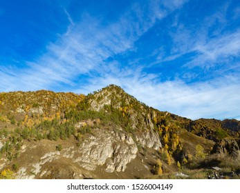 Low angle view landscape of cirrus cloud ,mountain in autumn season
