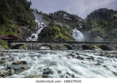 low angle view of Latefossen in norway whrer the road is empty of cars and people