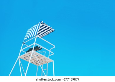 low angle view of a lifeguard tower against sky