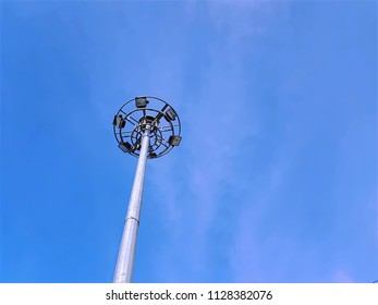 Low Angle View of Lighting Tower Against Blue Sky