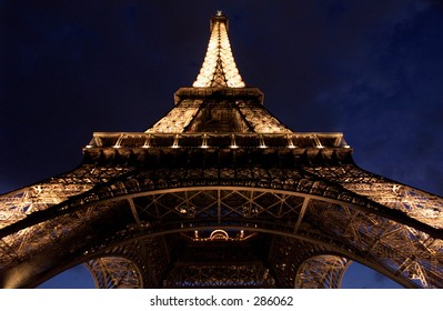Low angle view of a lit up Eiffel tower, Paris, France, July 2001 (Keith Levit)