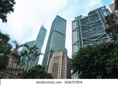 low angle view of modern office block buildings in Hong Kong,China.