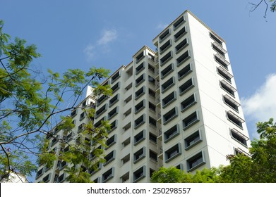 Low angle view of modern public housing in Singapore
