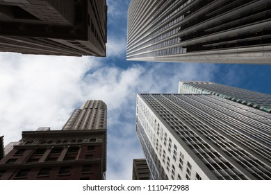 Low angle view of modern skyscrapers, North Beach, San Francisco, California, USA