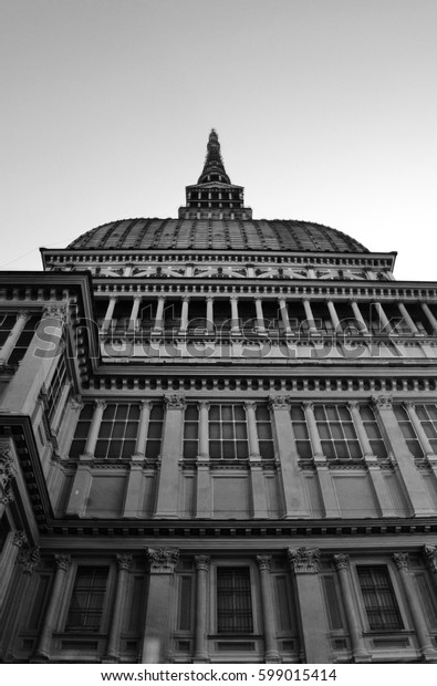 Low angle view of the Mole Antonelliana, symbol of the city of Turin (Piedmont, Italy)