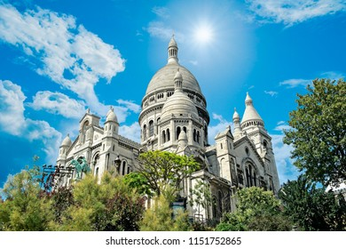 Low angle view of Montmartre cathedral in Paris