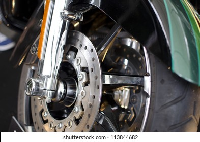 Low angle view of motorcycle wheel,close-up on  disc break