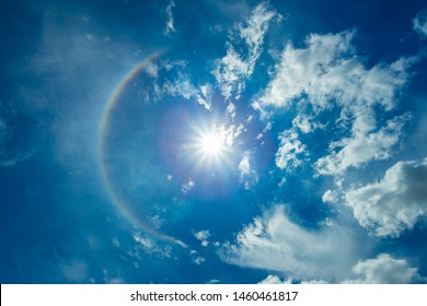 Low Angle View Natural phenomenon Sun halo ,Halo (optical phenomenon)